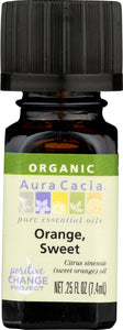 AURA CACIA: Organic Orange Sweet Essential Oil, 0.25 oz