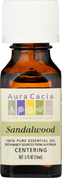 AURA CACIA: 100% Pure Essential Oil Sandalwood, 0.5 Oz