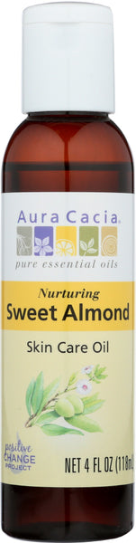 AURA CACIA: Natural Skin Care Oil with Vitamin E Nurturing Sweet Almond, 4 Oz - Go Steampunk