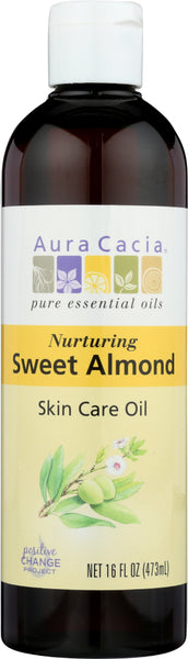 AURA CACIA: Natural Skin Care Oil with Vitamin E Nurturing Sweet Almond, 16 Oz - Go Steampunk