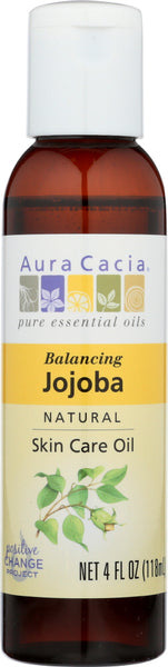 AURA CACIA: Natural Skin Care Oil Jojoba Balancing, 4 Oz - Go Steampunk