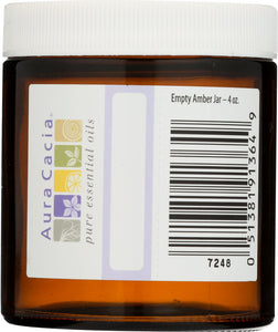 AURA CACIA: Amber Wide Mouth Jar with Writable Label, 4 oz - Go Steampunk