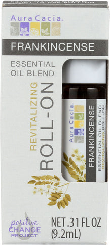 AURA CACIA: Oil Essential Roll-on Frankincense 0.31 oz - Go Steampunk