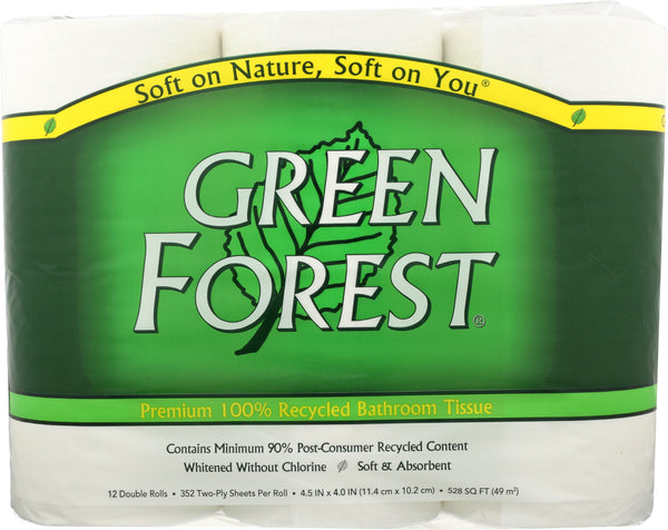 GREEN FOREST: Bath Tissue White 12 Double Ply Rolls 352 Sheets, 1 ea - Go Steampunk