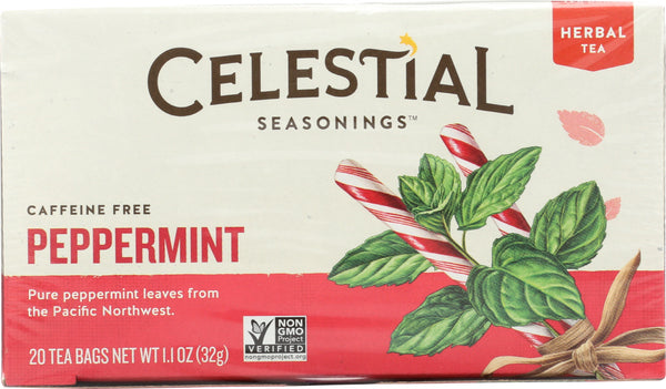 CELESTIAL SEASONINGS: Peppermint Herbal Tea Caffeine Free 20 Tea Bags, 1.1 oz - Go Steampunk