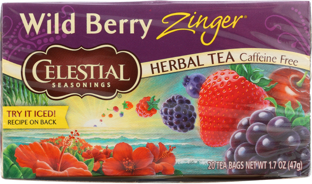 CELESTIAL SEASONINGS: Wild Berry Zinger Herbal Tea Caffeine Free 20 Tea Bags, 1.7 oz - Go Steampunk