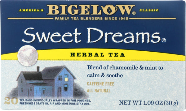 BIGELOW: Sweet Dreams Herb Tea Blend Of Chamomile And Mint 20 Tea Bags, 1.09 oz - Go Steampunk