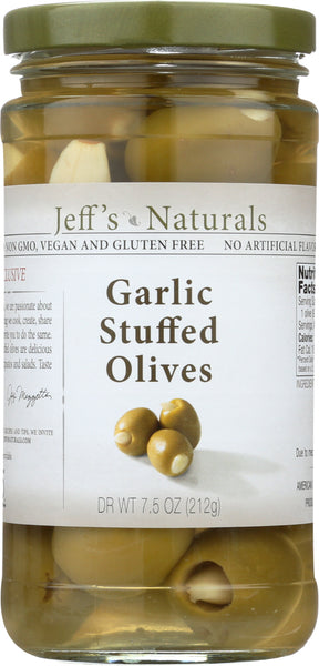 JEFF'S NATURALS: Garlic Stuffed Olives, 7.5 oz