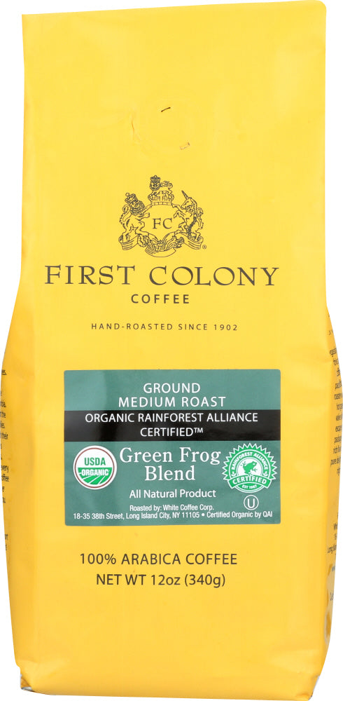 FIRST COLONY: Rainforest Blend Green Frog Coffee, 12 oz
