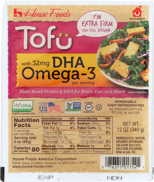 HOUSE FOODS: Tofu Extra Firm DHA Omega-3, 12 oz - Go Steampunk