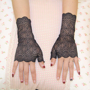 Fingerless Lace Party Gloves Black - Go Steampunk