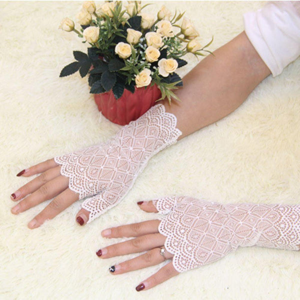 Fingerless Lace Party Gloves White - Go Steampunk