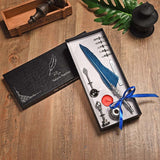 Vintage Feather Quill Fountain Dip Pen With 5 Nibs and a Wax Seal Kit Boxed Set Lake blue - Go Steampunk