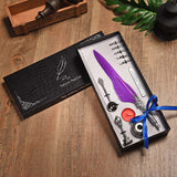 Vintage Feather Quill Fountain Dip Pen With 5 Nibs and a Wax Seal Kit Boxed Set Purple - Go Steampunk
