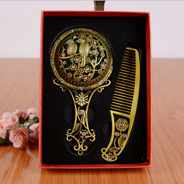 Classic Vintage Makeup Mirror with Comb