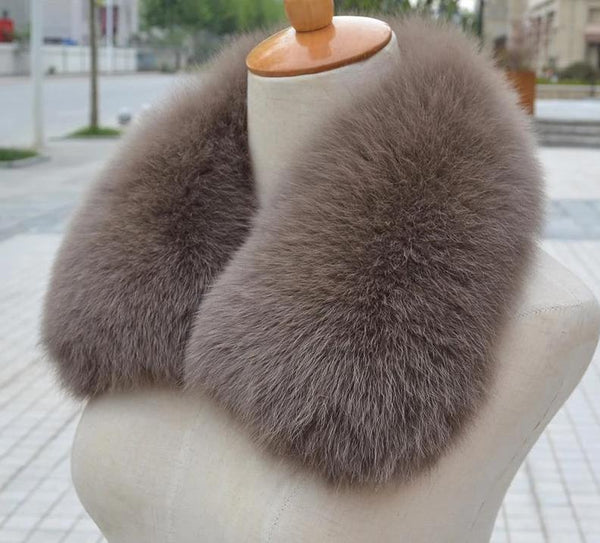 100% Real Natural Fox Fur Dyed Collar