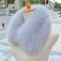 100% Real Natural Fox Fur Dyed Collar Light Grey - Go Steampunk