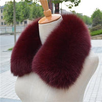 100% Real Natural Fox Fur Dyed Collar Wine - Go Steampunk