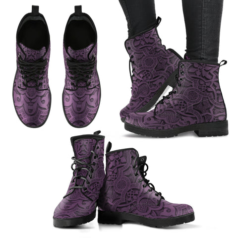 Vintage Mandala Ceilings in Purple Taupe - Leather Boots for Women - Go Steampunk