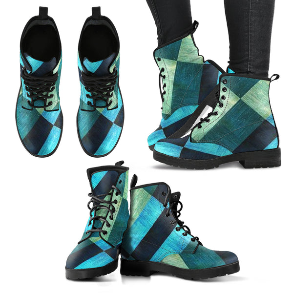 Blue Plaid Leather Boots - Go Steampunk