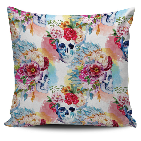 Pink Flower Skull Pillow Cover - Go Steampunk