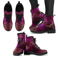 Purple Sun & Moon Handcrafted Boots - Go Steampunk