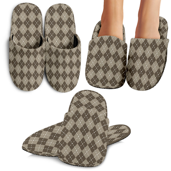 Chocolate Argyle Slippers Women's SlippersChocolate Argyle Slippers / Small (US 5-6.5 /EU 35-37) - Go Steampunk