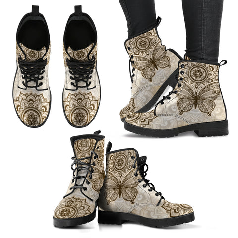 Beige Butterfly Handcrafted Boots - Go Steampunk
