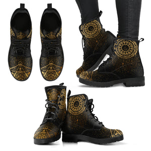Gold Dream Catcher Women's Leather Boots - Go Steampunk