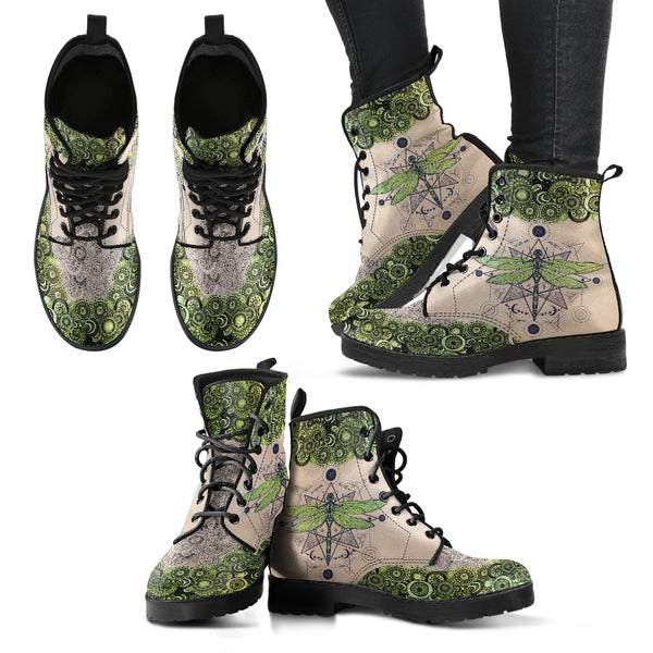 Green Dragonfly Handcrafted Boots - Go Steampunk