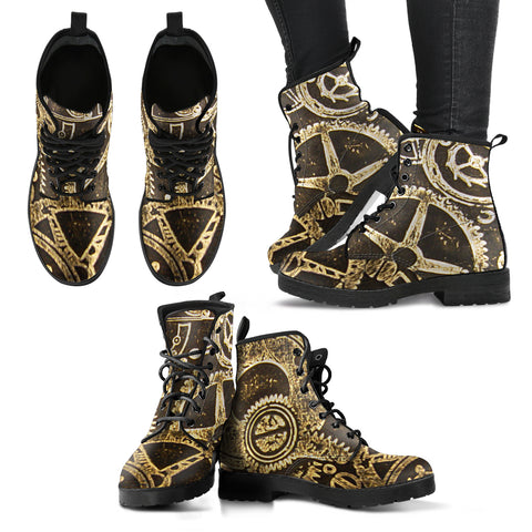 Steampunk Gears and Cogs Leather Boots - Go Steampunk