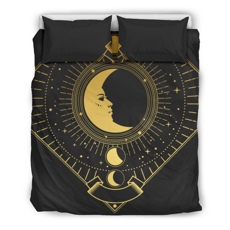Golden ornate frame with Moon on black background Bedding SetGolden ornate frame with Moon on black background / US Twin - Go Steampunk