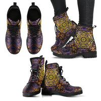 Purple Gold Mandala Handcrafted Boots - Go Steampunk