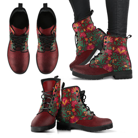 Floral Pattern 3 Handcrafted Boots - Go Steampunk