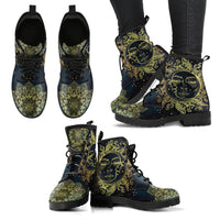 Golden Sun and Moon Handcrafted Boots - Go Steampunk