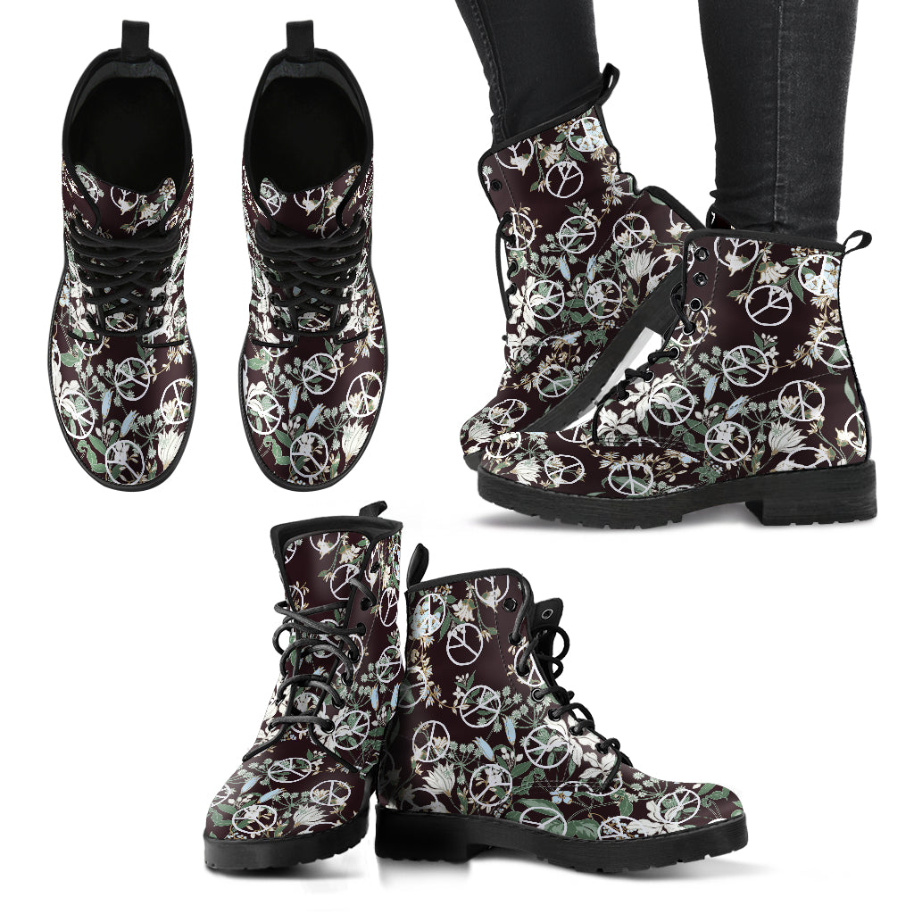 Floral Peace Women's Leather Boots - Go Steampunk