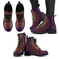 Gold Chakra Mandala Women's Leather Boots - Go Steampunk