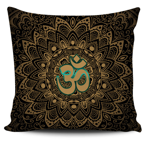 Elegant Golden OM Sign Pillow Cover - Go Steampunk