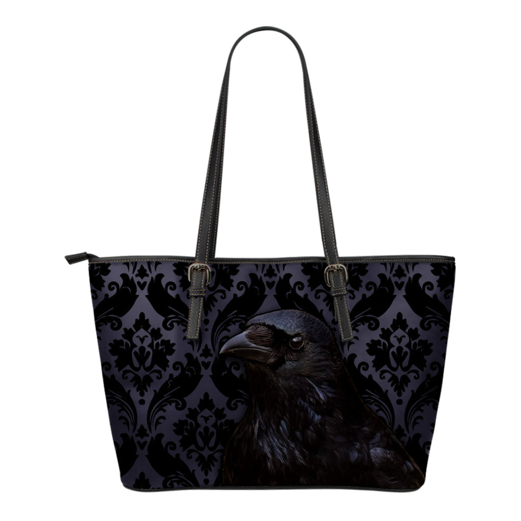 Raven Flocking Leather Tote Bag - Go Steampunk