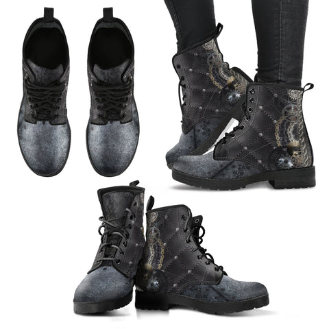 Steampunk Quilted Women's Leather Boots - Go Steampunk