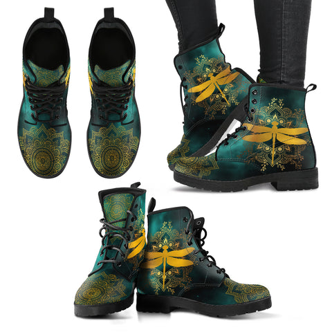 Dragonfly Of Peace Handcrafted Boots - Go Steampunk
