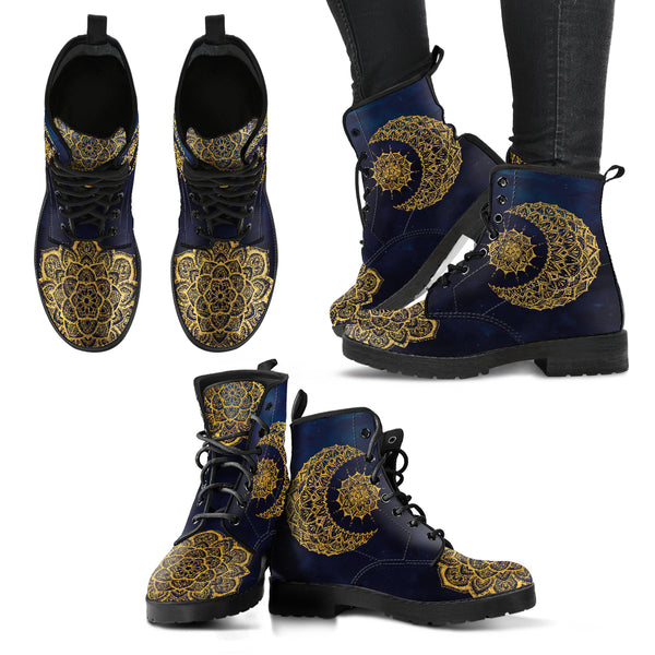 Gold Mandala Sun and Moon Women's Leather Boots - Go Steampunk