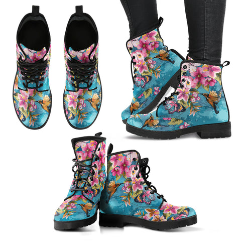 Birds and Flowers Handcrafted Boots - Go Steampunk