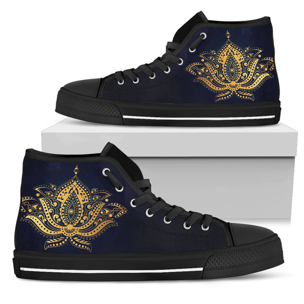 Womens Gold Lotus High Top - Go Steampunk