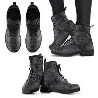 Grey Sun and Moon Handcrafted Boots - Go Steampunk