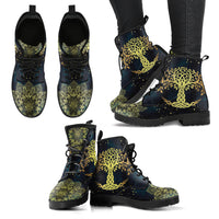 Golden Tree of Life Handcrafted Boots - Go Steampunk