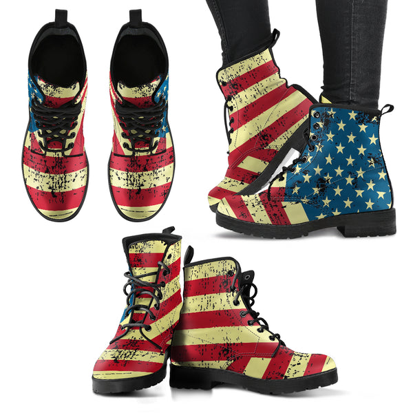 NP American Flag Women's Leather Boots - Go Steampunk