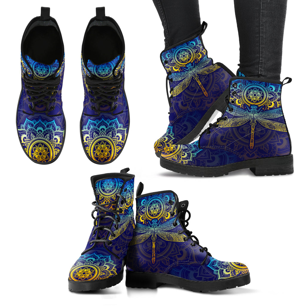 Mandala Dragonfly Colorful Handcrafted Boots - Go Steampunk