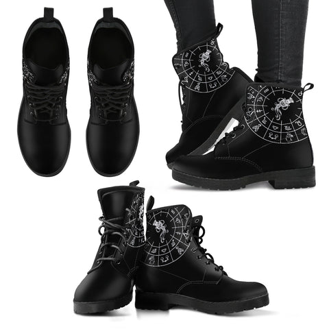 Aquarius Black Zodiac Women's Leather Boots - Go Steampunk