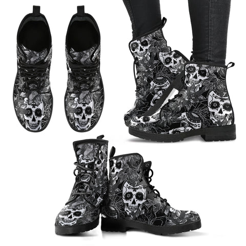 Black & White Sugar Skull V2 Handcrafted Boots - Go Steampunk